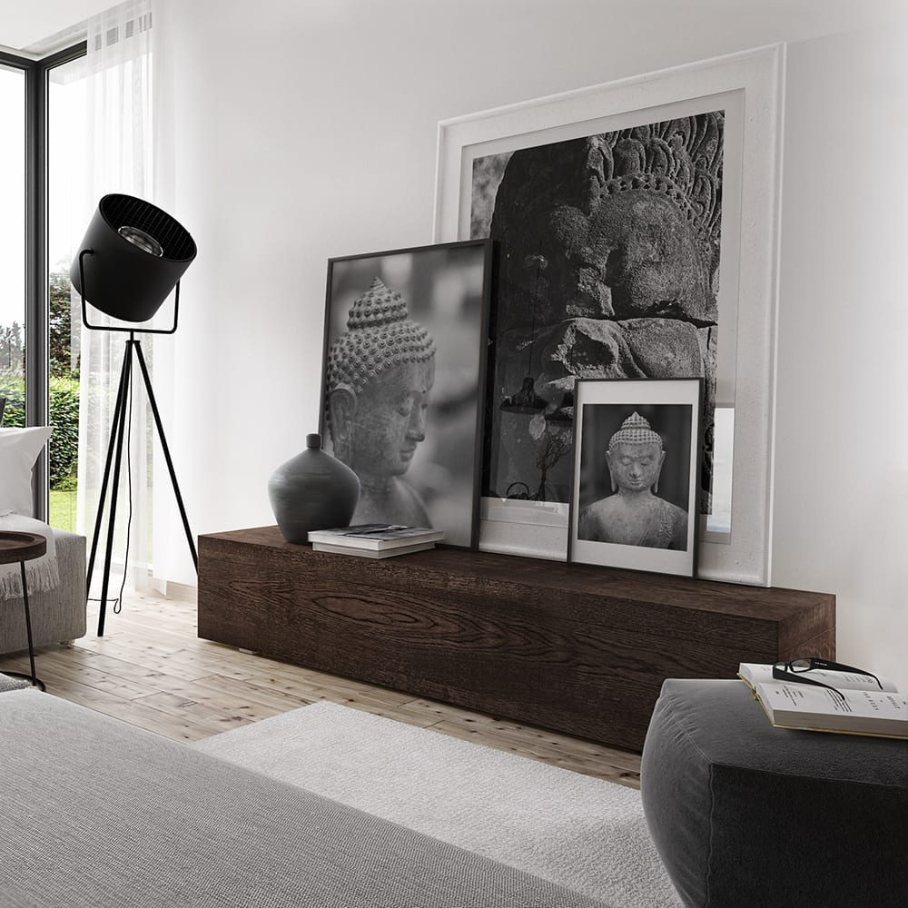 Room with framed black and white images